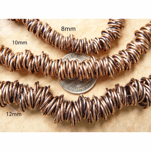Copper twisted beads 12mm 22 PCS