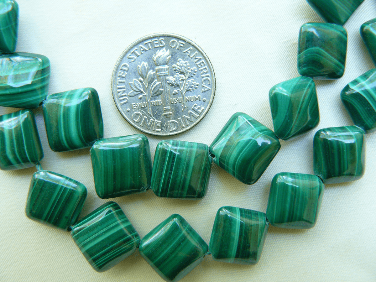 "Corner drilled Square Malachite beads 9mm 16"" strands"
