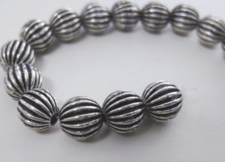 Corrugated Bead - 10mm - 15 Beads - .999 Silver Over Copper<br>SCBK69