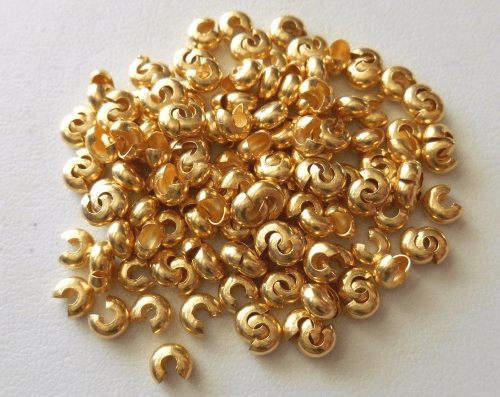 Crimp Covers - 4mm - Approx. 175 pcs. -  24Kt. Gold Over Copper<br>GCCC400