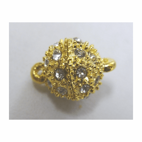 Crystal Studded Magnetic Clasp - 13mm - 1 Clasp - 24Kt. Gold Over Copper