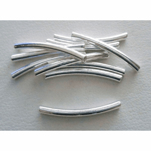 Curved Tube - 1.5x20mm - 10 Pieces - Sterling Silver<br>CT-11