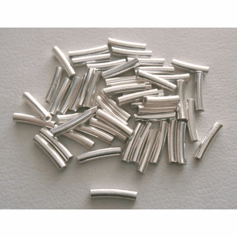 Curved Tube - 1.5x8mm - 40 Pieces - Sterling Silver<br>CT-3