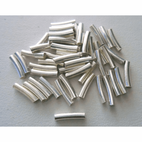 Curved Tube - 2x10mm - 22 Pieces - Sterling Silver<br>CT-15