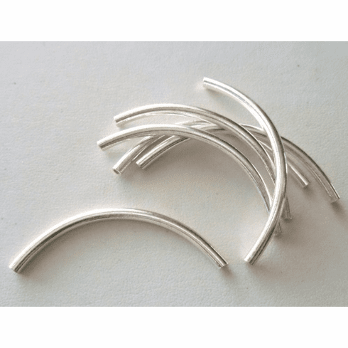 Curved Tube - 3x50mm - 3 Pieces - Sterling Silver<br>CT-23