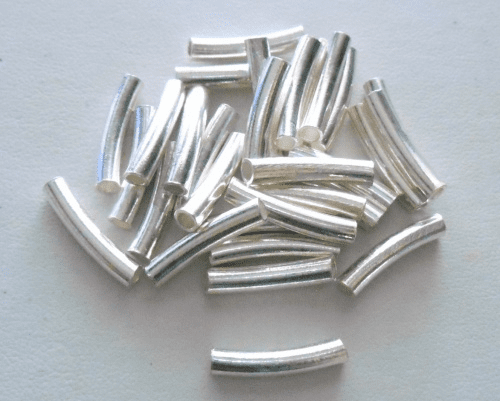Curved Tubes - 3.5x19mm - 5 Pieces - Sterling Silver<br>CT-25
