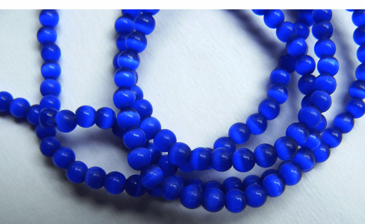 "Dark Blue Cats Eye Fiber Optic Beads 16"" strands 4mm"