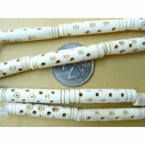 """Decorated Bone bead Tubes 8x36mm 11 beads 16"""" strands"""