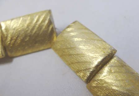 Diagonal Etched Pillow Bead - 16x22mm - 10 Beads - 24Kt. Gold Over Copper<br>GPB-0426