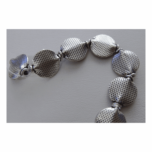 Disk Bali Style Bead - 14x12mm - 15 beads- .999 Silver Copper Core