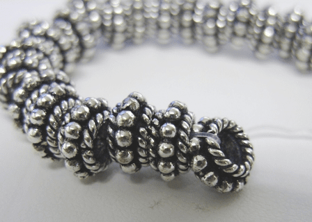 Double Layer Daisy/Rope Spacer - 8mm - 48 Beads - .999 Silver Over Copper<br>SCBK20