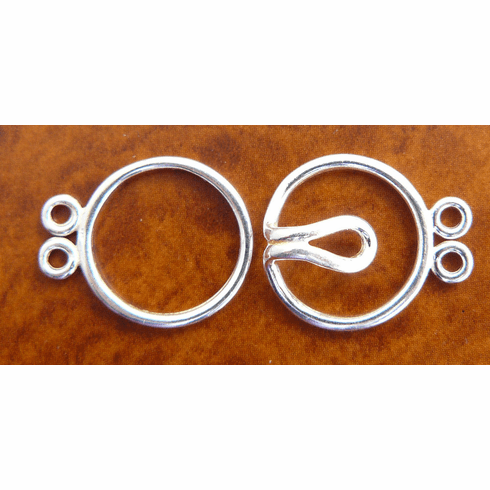 Double Strand Two Ring Clasp - 13mm - 5 Clasps - Sterling Silver<br>SS/6021/2-10