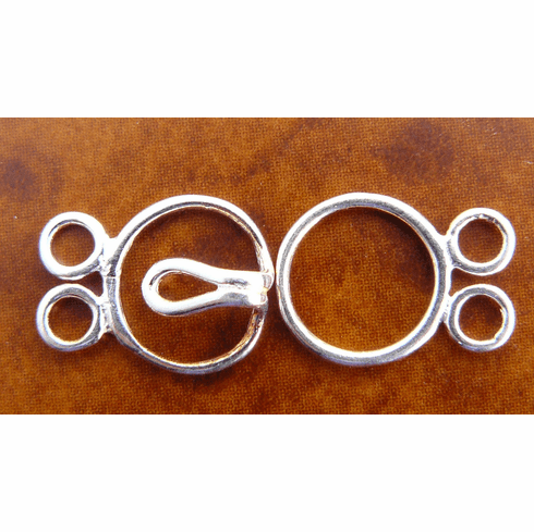 Double Strand Two Ring Clasp - 9mm - 5 Clasps - Sterling Silver<br>SS/6020/2-10