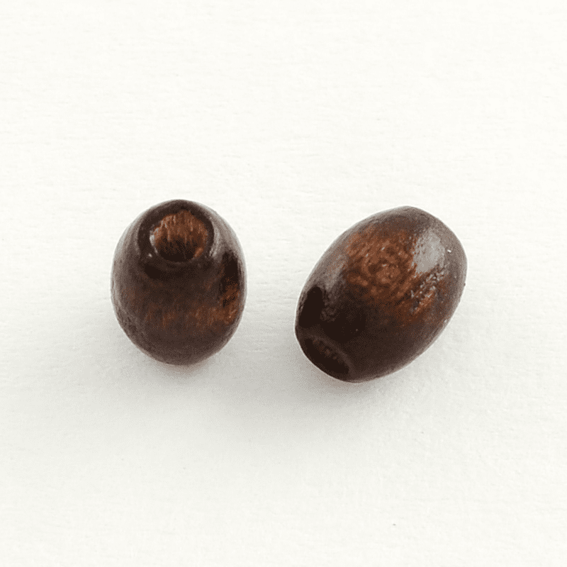 Dyed Wood Beads,100PC. Oval-Oblong, Lead Free, Coconut Brown  Size-about 6mm long, 4~5mm wide, Hole- 2mm