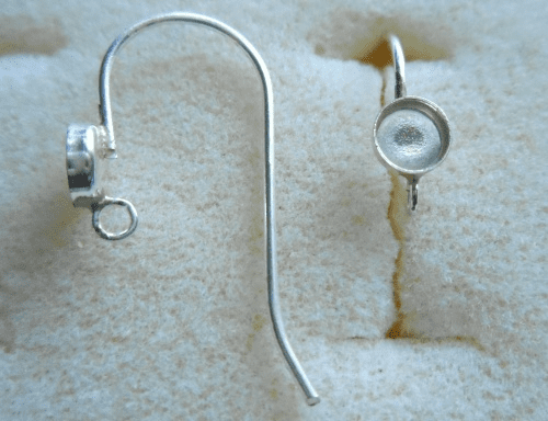 Ear Wire w/ Cab Setting - 4mm - 1 Pair - Sterling Silver<br>ST4R