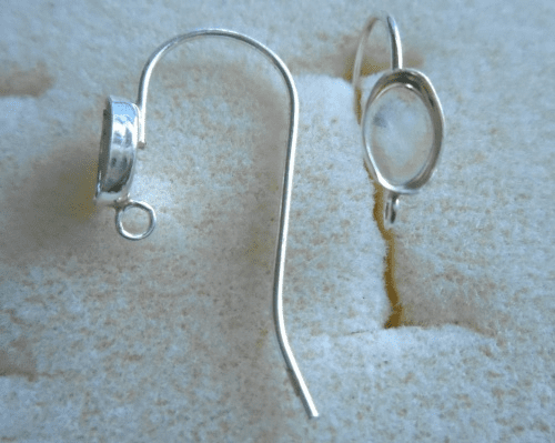 Ear Wire w/ Cab Setting - 6x4mm - 1 Pair - Sterling Silver<br>ST64R