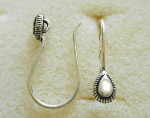 Ear Wire w/ Detail - 1 Pair - 10x12mm - Sterling Silver<br>EI4448