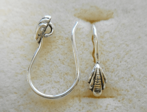 Ear Wire w/ Detail - 1 Pair - 10x12mm - Sterling Silver<br>EI4450
