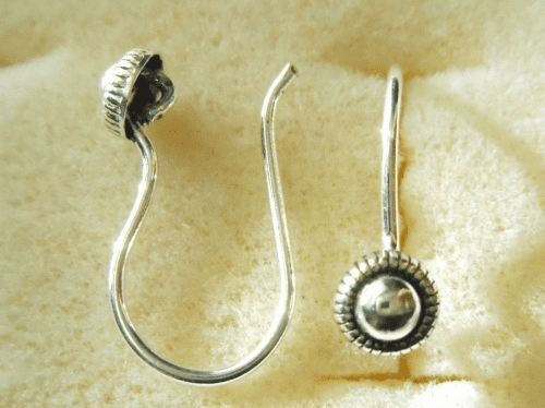 Ear Wire w/ Detail - 1 Pair - 10x12mm - Sterling Silver<br>EI4468