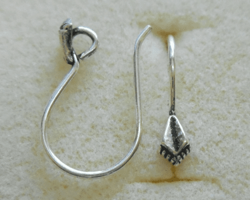 Ear Wire w/ Detail - 1 Pair - 10x12mm - Sterling Silver<br>EI4474