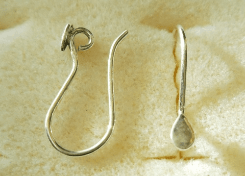 Ear Wire w/ Detail - 1 Pair - 8x12mm - Sterling Silver<br>EI4461