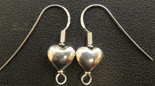 Ear Wires w/ Heart - 1 Pair - Sterling Silver<br>EW-29-2