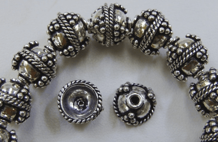 Embellished Bead Cap - 10mm - 38 Caps - .999 Silver Over Copper