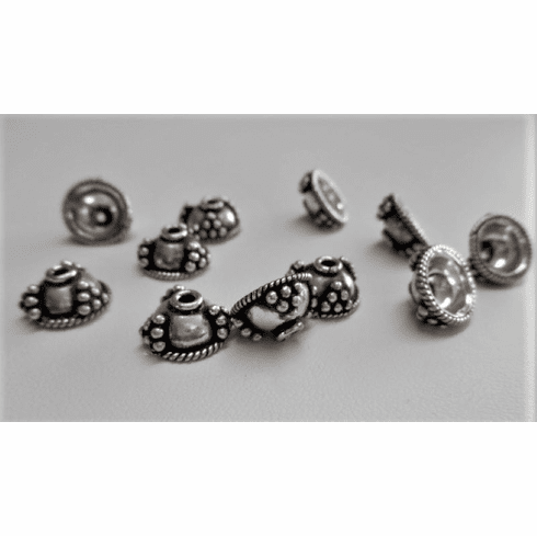 Embellished Bead Caps 10 pcs 11mm .999 Silver Over Copper SCBK147