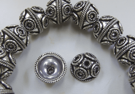 Embellished Bead Cap 16mm 6 Bead .999 Silver Over Copper SCBK57