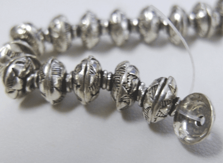 Embellished Bead Cap - 8mm - 80 Caps - .999 Silver Over Copper