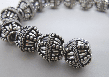 Embellished Round - 12mm - 16 Beads - .999 Silver Over Copper<br>SCBK28