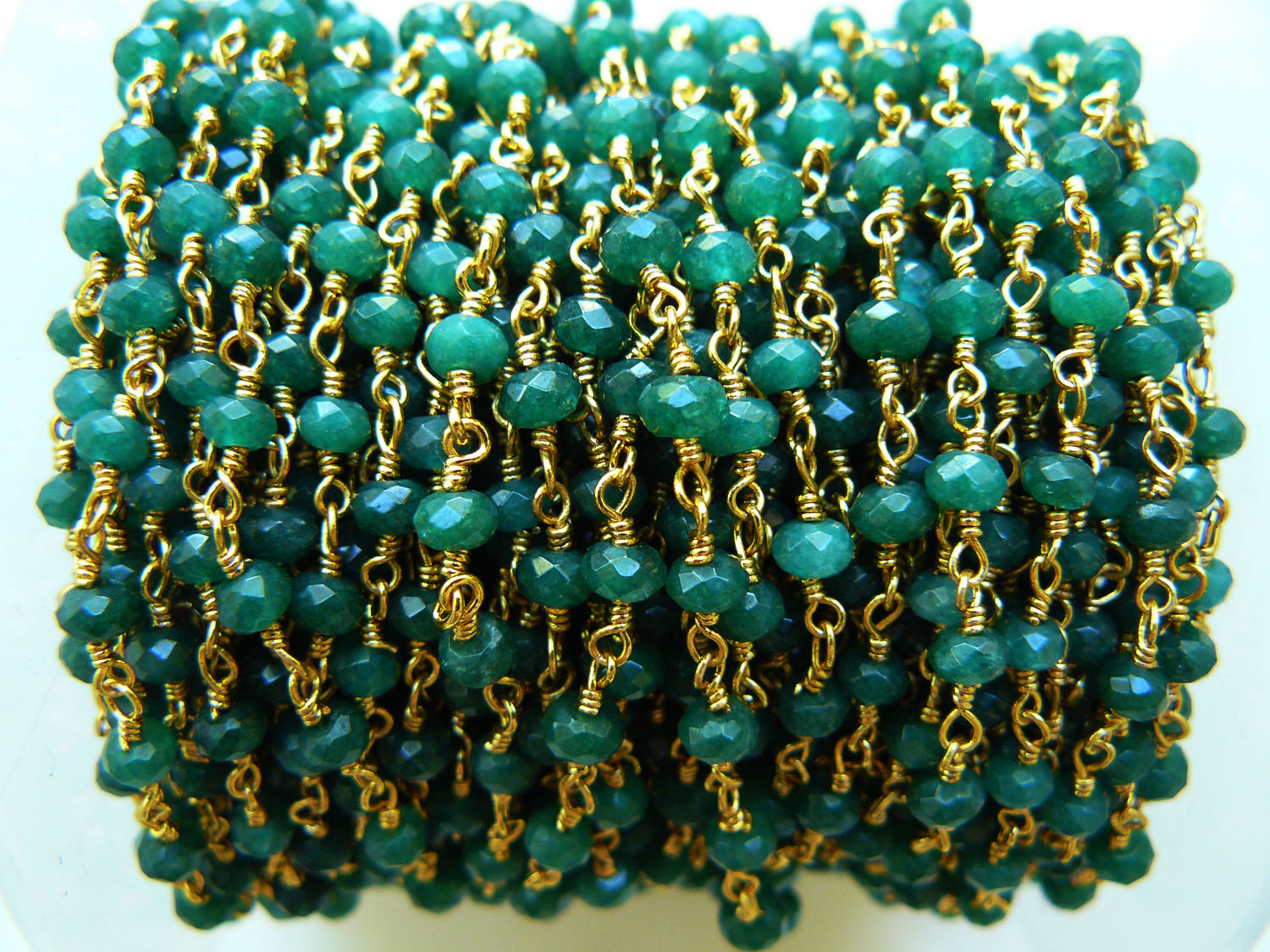 Emerald Agate Rosary chain by the foot 24kt over copper