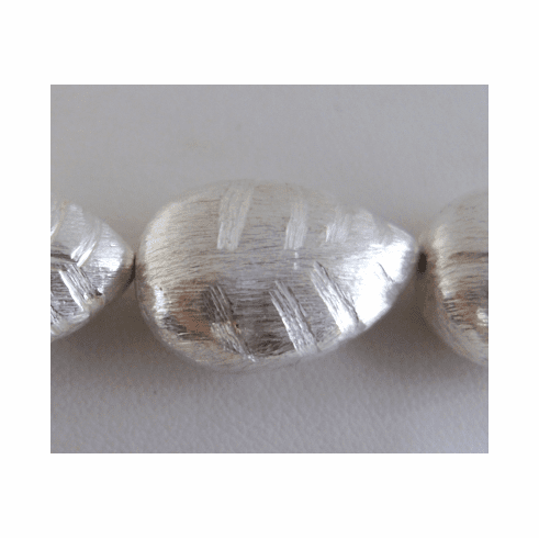 Etched Brushed Leaf - 23mm - 9 Beads - .999 Silver Over Copper<br>SCBK249
