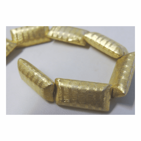 Etched Pillow Bead - 12x24mm - 9 Beads - 24Kt. Gold Over Copper<br>GPB-446