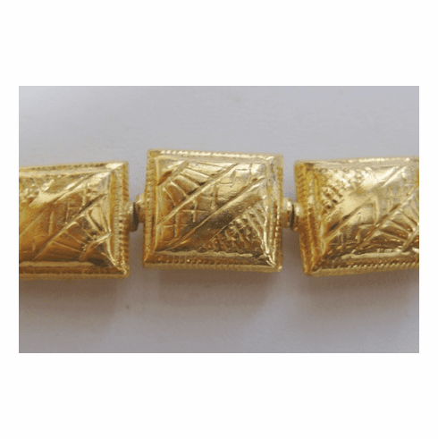 Etched Pillow Bead - 20mm - 10 Beads - 24Kt. Gold Over Copper<br>GCBK109