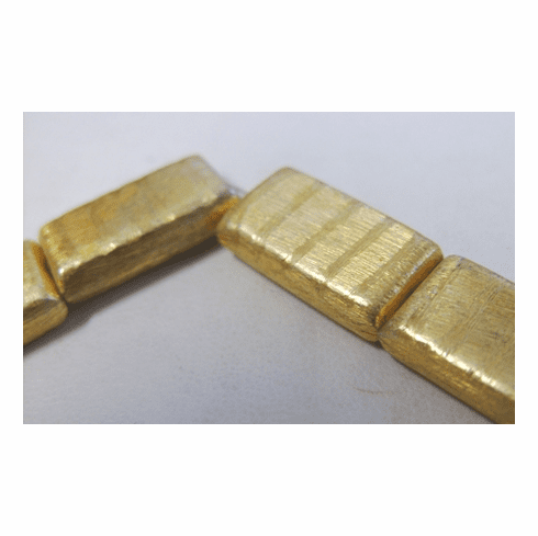 Etched Rectangle Bead - 12x22mm - 10 Beads - 24Kt. Gold Over Copper<br>GPB-452