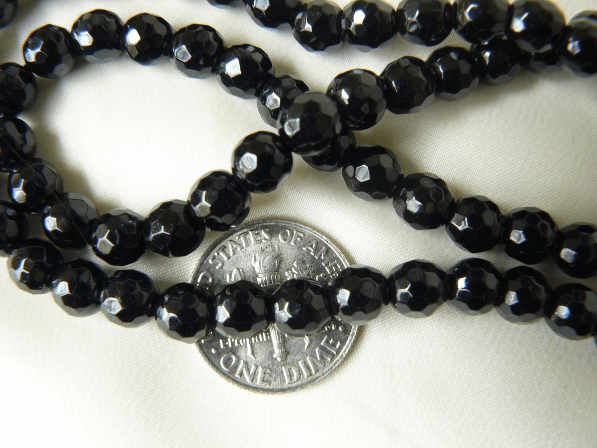 """Faceted Black Onyx Beads 6mm 15"""" strands"""