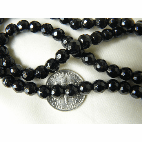 "Faceted Black Onyx Beads 6mm 15"" strands"