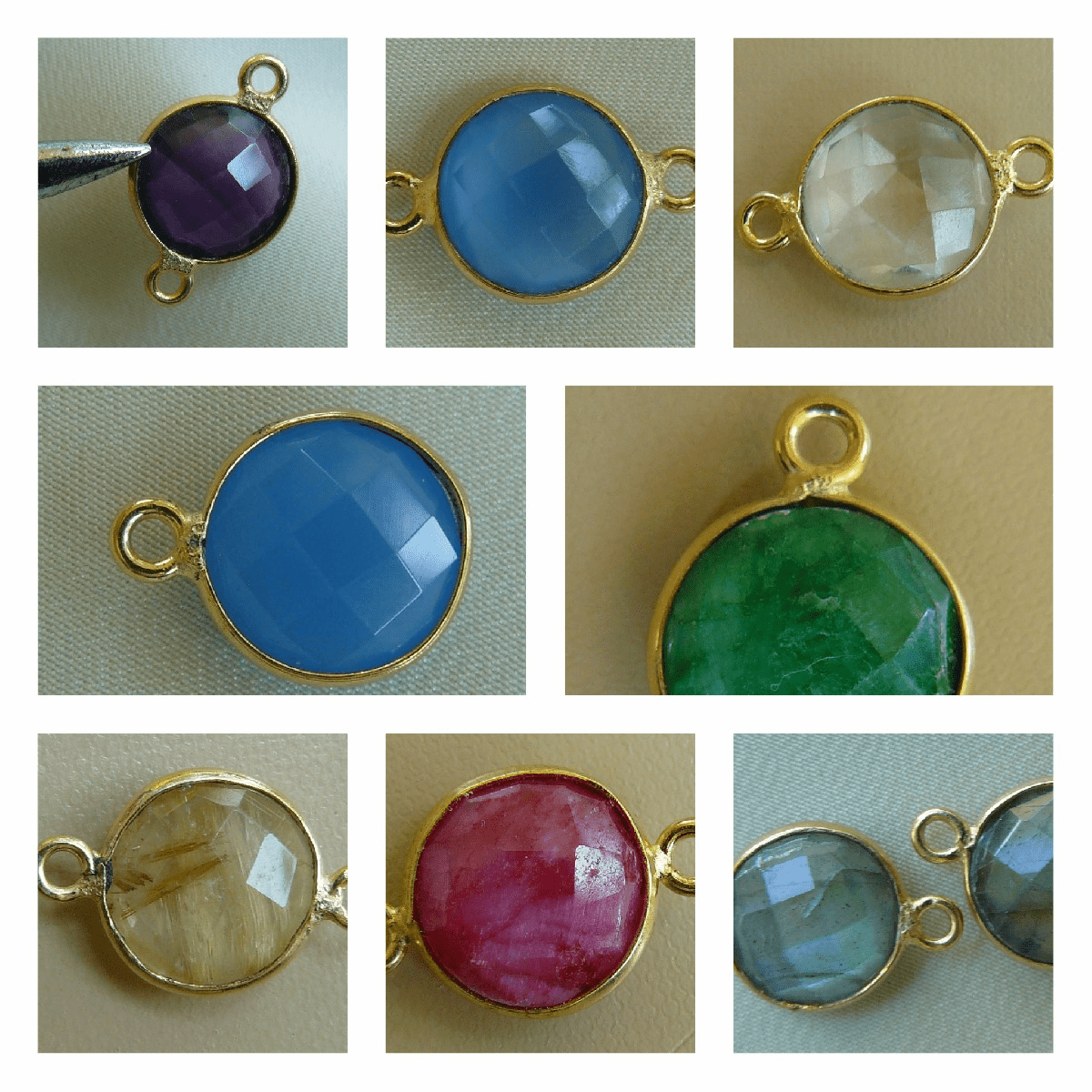 Faceted Gemstone connectors with Gold bezels one or two endings