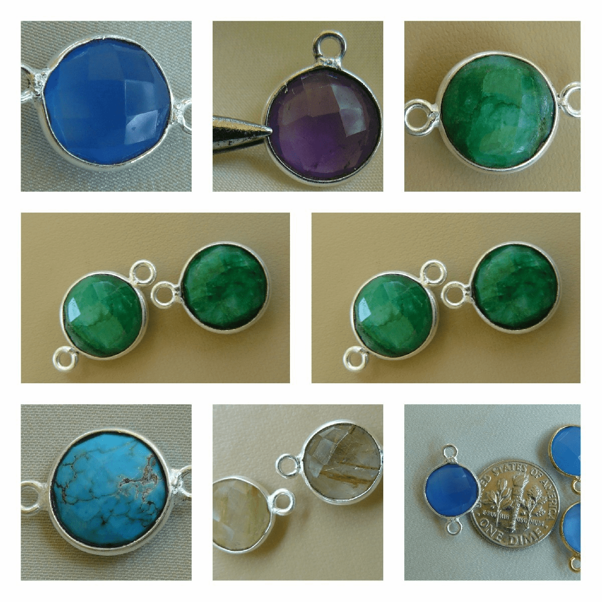 Faceted Gemstone connectors with Silver bezels with 1 or 2 loops 10mm stones