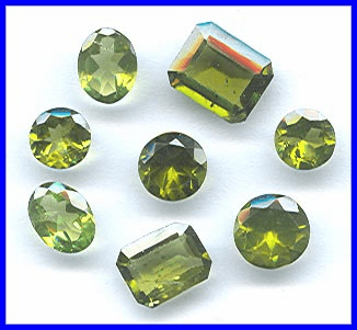 Faceted Peridot Gemstones
