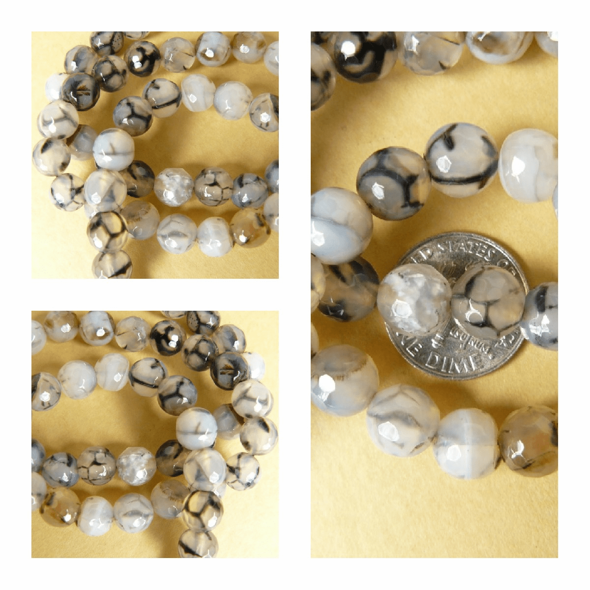 Faceted Tourmilated Quartz Round 9mm Beads