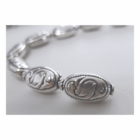 Fancy Bead - 10x8x14mm - 8 Beads - .999 Silver Over Copper<br>SCBK39