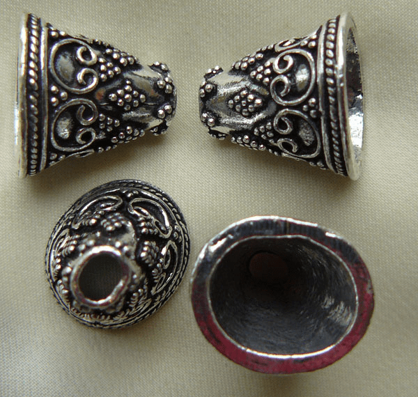Fancy Cone - 14mm - 4 Pieces - .999 Silver Over Copper