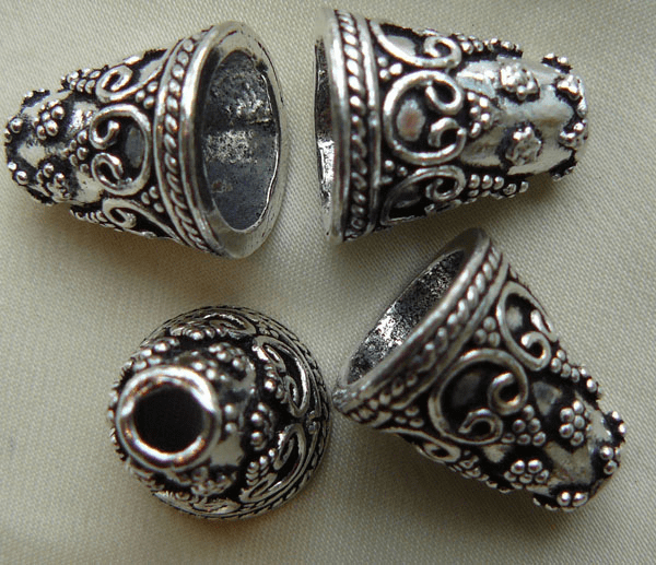 Fancy Cone - 15mm - 4 Pieces - .999 Silver Over Copper