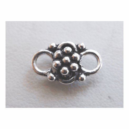 Fancy Daisy Connector - 8x14mm - 13 Pieces - .999 Silver Over Copper