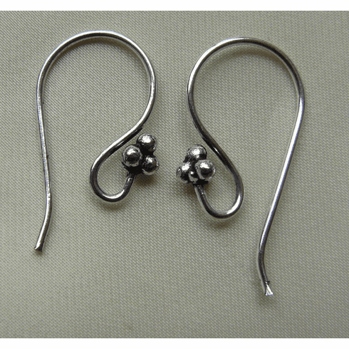 Fancy Detail Fishhook Ear Wire - 12x22mm - 15 Pairs - .999 Silver Over Copper