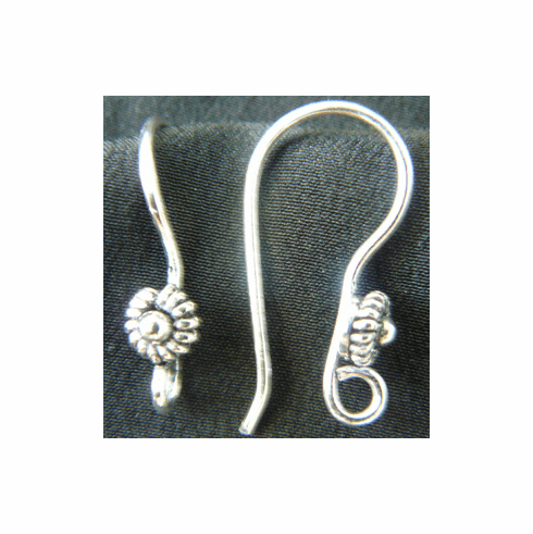 Fancy Detail Fishhook Ear Wire - 17X30mm - 10 Pairs - .999 Silver Over Copper