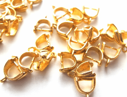 Fancy Detail Pinch Bail - 12x5mm - 22 Pieces - 24Kt. Gold Over Copper