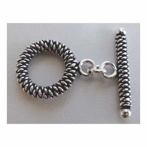 Fancy Detail Toggle - 15mm Circle w/ 25mm Bar - 3 Clasps - .999 Silver Over Copper